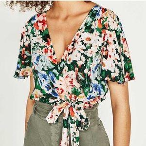 Zara Tropical Print Floral Wrap Crop Top